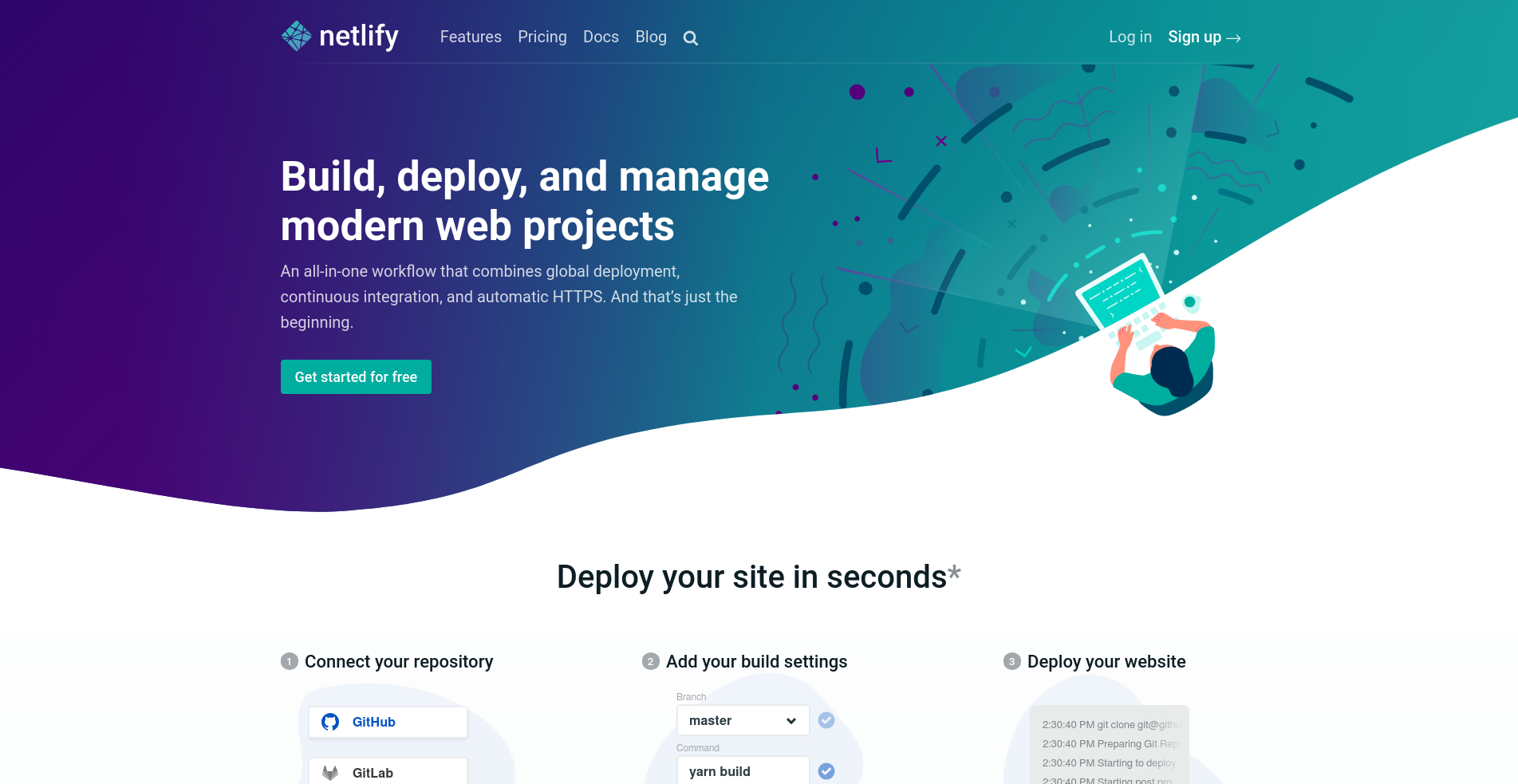 netlify home page