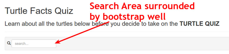 search area with bootstrap well